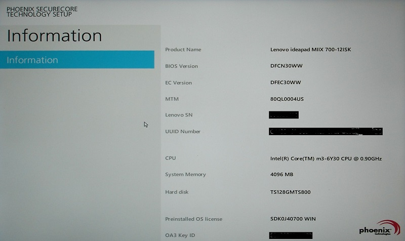 Miix 700 BIOS Info Screen REDACTED RESIZED