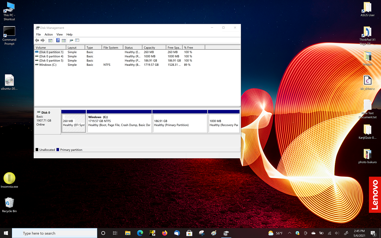 42) Reboot to Windows - drive layout, FYI