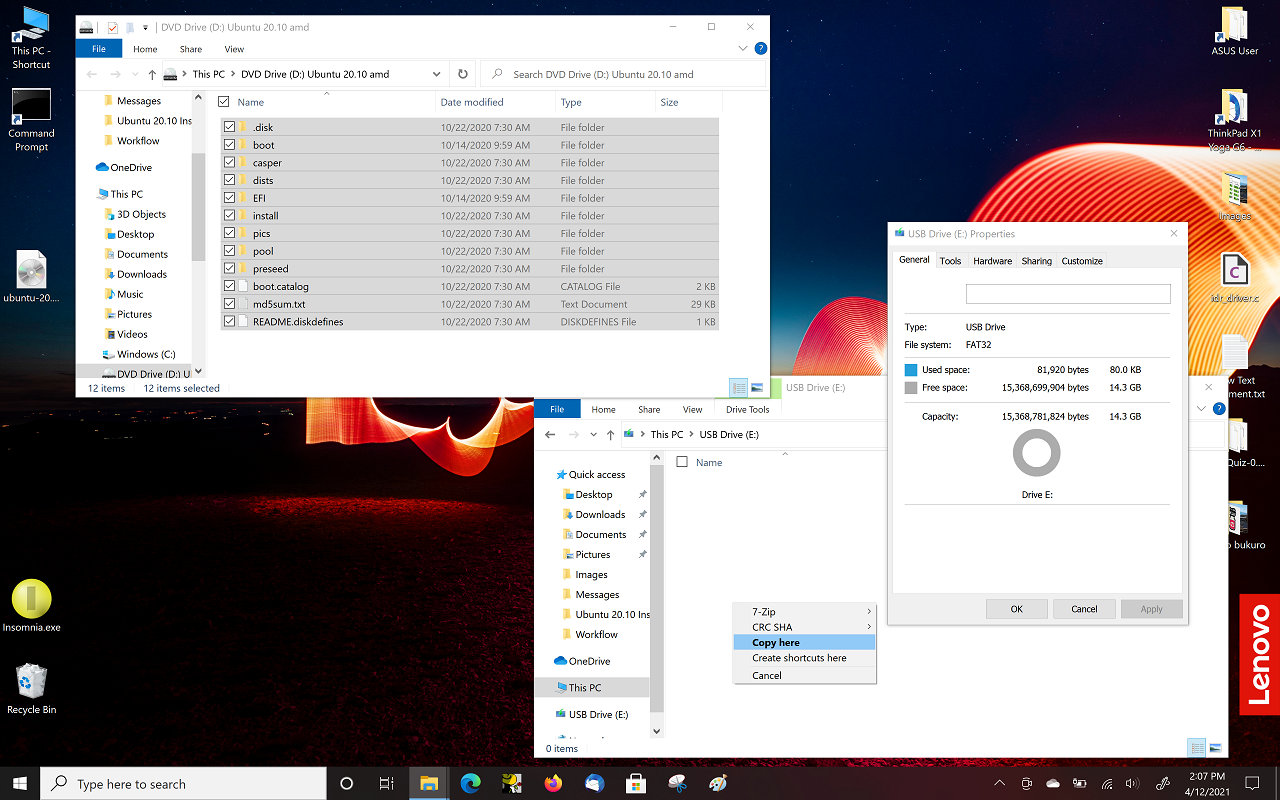 9) and copy ISO _contents_ to FAT32 flash drive